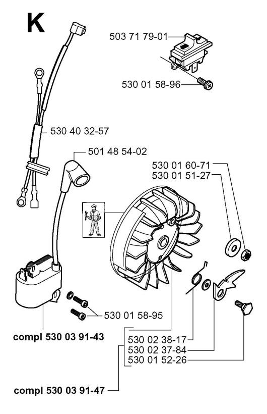 Husqvarna 136 (2001-09) Chainsaw IGNITION SYSTEM Spare