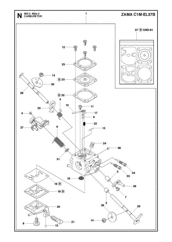 Husqvarna 450 e II Chainsaw CARBURETOR Spare Parts Diagram