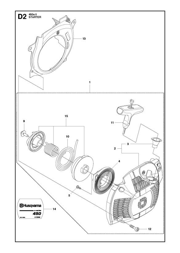 Husqvarna 450 e II Chainsaw STARTER Spare Parts Diagram