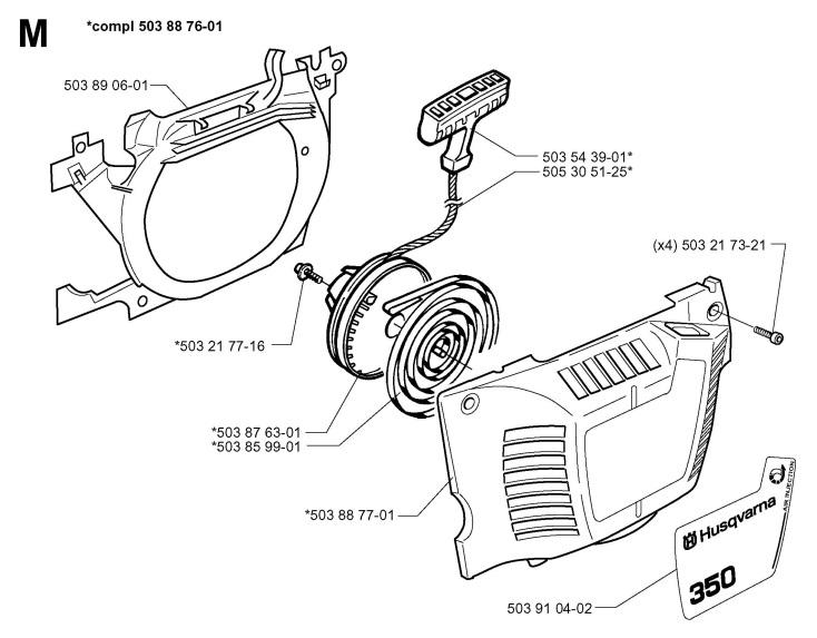 Husqvarna 350 (1998-02) Chainsaw STARTER Spare Parts Diagram