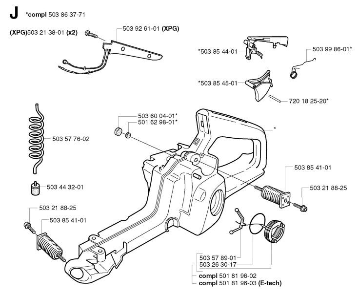Husqvarna 353 (2002-09) Chainsaw FUEL TANK Spare Parts Diagram