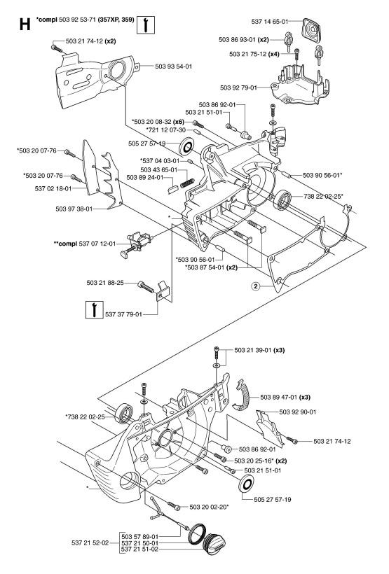 Husqvarna 357 XP (2007-03) Chainsaw CRANKCASE Spare Parts