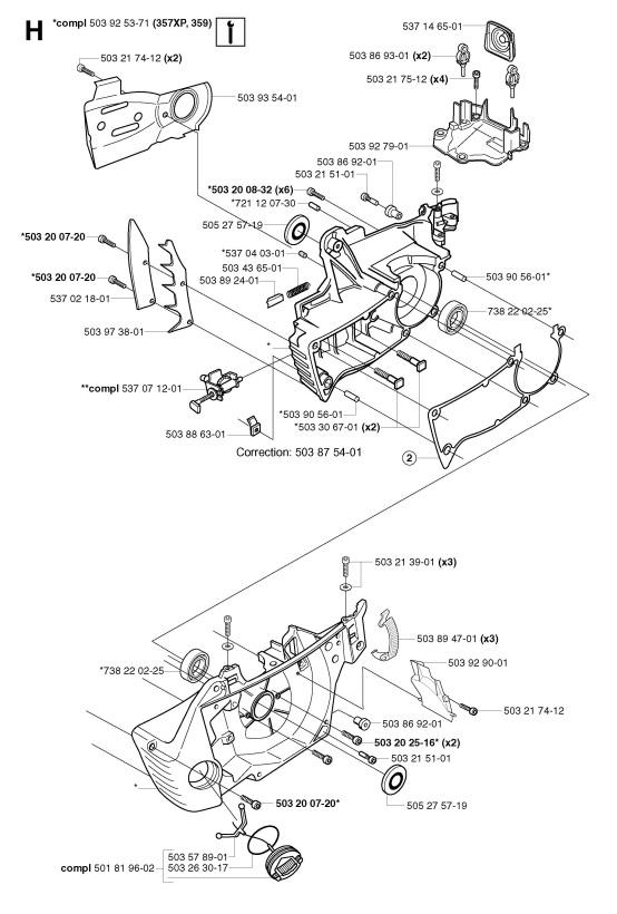 Husqvarna 357 XP (2003-04) Chainsaw CRANKCASE Spare Parts