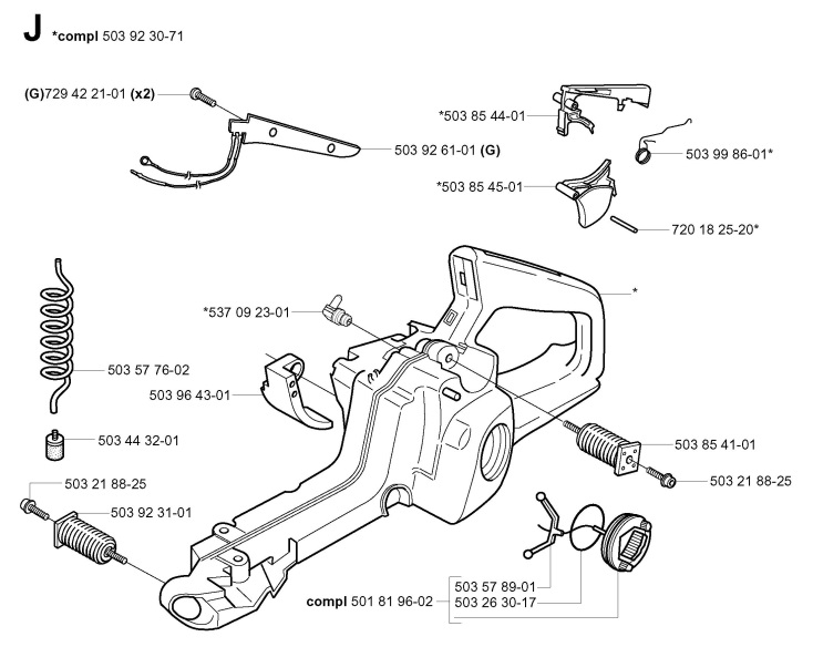 Husqvarna 357 XP (2001-10) Chainsaw FUEL TANK Spare Parts