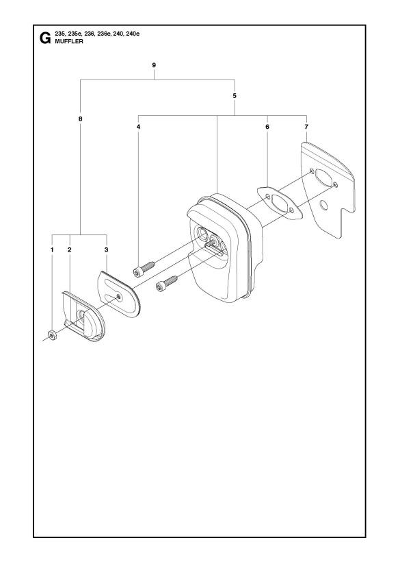 Husqvarna 240 E (2010-04) Chainsaw MUFFLER Spare Parts Diagram