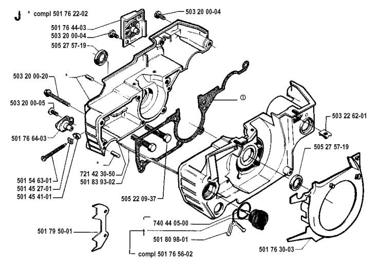 Husqvarna 51 (1990-01) Chainsaw CRANKCASE Spare Parts Diagram