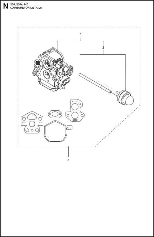 Husqvarna 236 (967326403) Chainsaw CARBURETOR Spare Parts