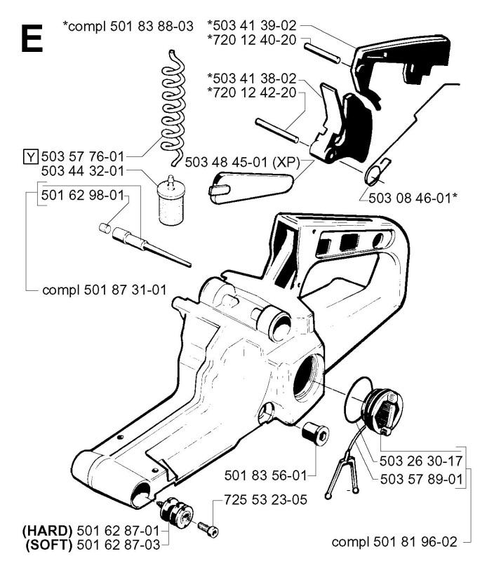 Husqvarna 242 (2001-09) Chainsaw FUEL TANK Spare Parts Diagram