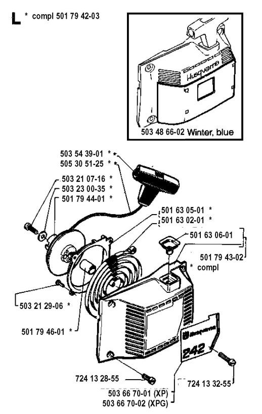 Husqvarna 242 (1994-04) Chainsaw STARTER Spare Parts Diagram