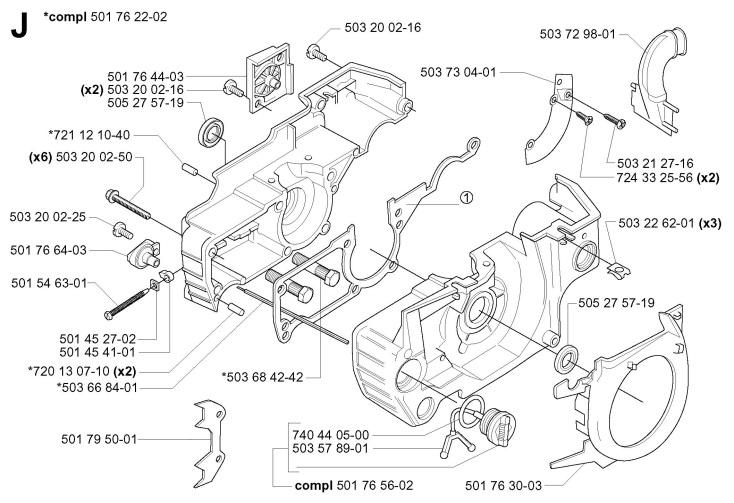 Husqvarna 55 (2005-04) Chainsaw CRANKCASE Spare Parts Diagram