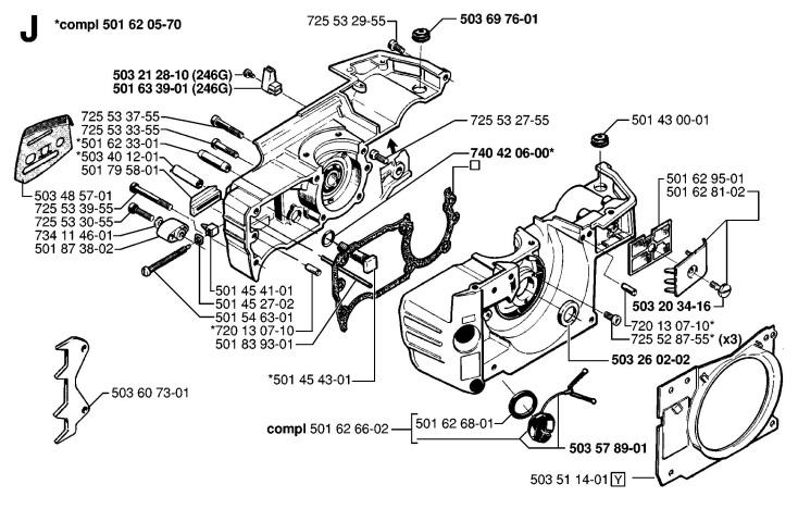 Husqvarna 42 (1998-06) Chainsaw CRANKCASE Spare Parts Diagram