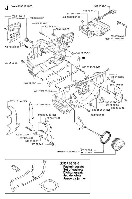 Husqvarna 385 XP (2006-10) Chainsaw CRANKCASE Spare Parts