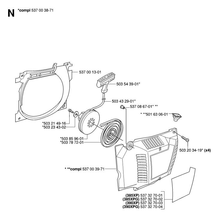 Husqvarna 390 XP (2006-10) Chainsaw STARTER Spare Parts