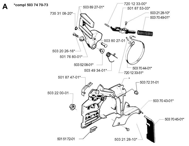 Husqvarna 254 (1998-03) Chainsaw CHAIN BRAKE Spare Parts