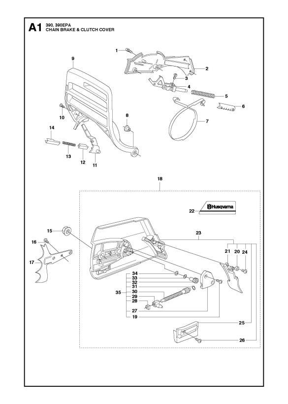Husqvarna 390 XP (2016-03) Chainsaw CHAIN BRAKE & CLUTCH