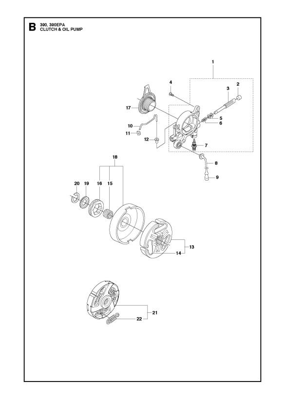Husqvarna 390 XP (2016-03) Chainsaw CLUTCH & OIL PUMP