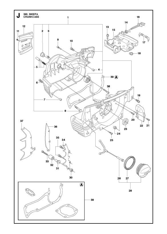 Husqvarna 390 XP (2016-03) Chainsaw CRANKCASE Spare Parts