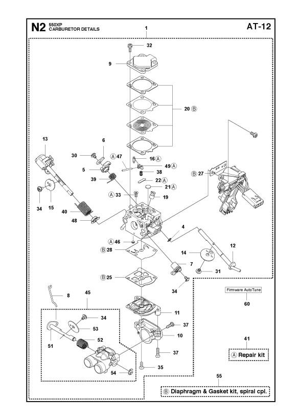 Husqvarna 550 XP/XPG Chainsaw CARBURETOR DETAILS Spare