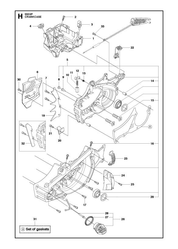 Husqvarna 550 XP/XPG Chainsaw CRANKCASE Spare Parts Diagram