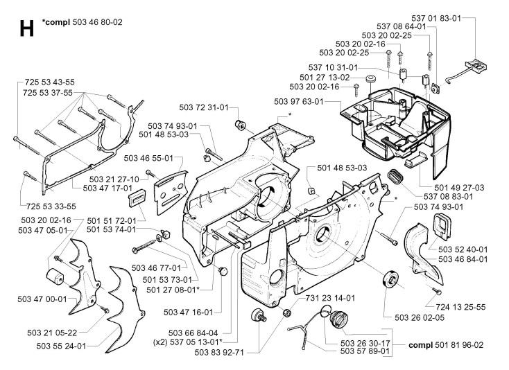 Husqvarna 395 XP (2003-01) Chainsaw CRANKCASE Spare Parts