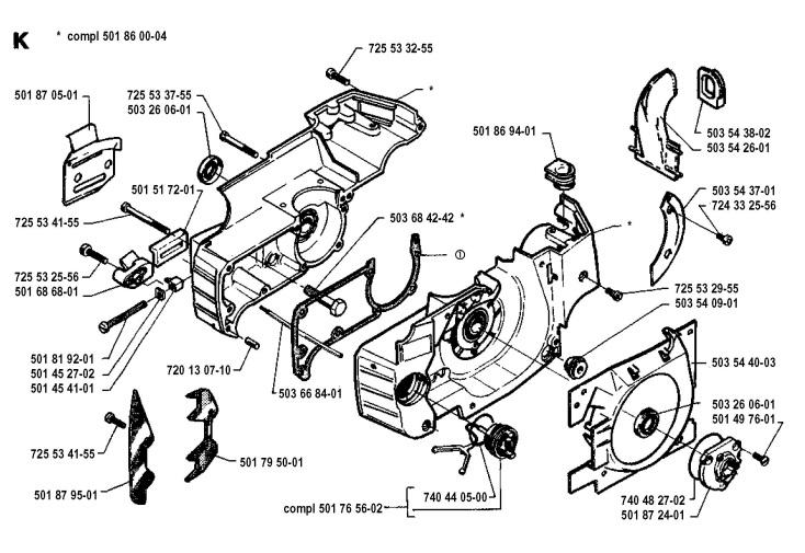Husqvarna 262 XP (1994-06) Chainsaw CRANKCASE Spare Parts
