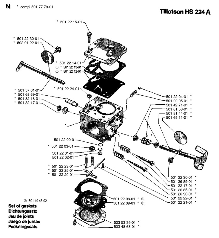 Husqvarna 266 Chainsaw CARBURETOR DETAILS Spare Parts Diagram