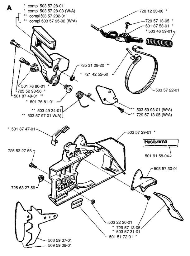 Husqvarna 266 Chainsaw CHAIN BRAKE Spare Parts Diagram