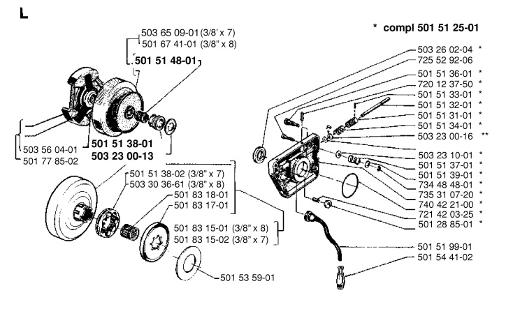 Husqvarna 266 Chainsaw CLUTCH & OIL PUMP Spare Parts Diagram