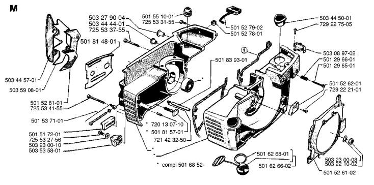 Husqvarna 266 Chainsaw CRANKCASE Spare Parts Diagram