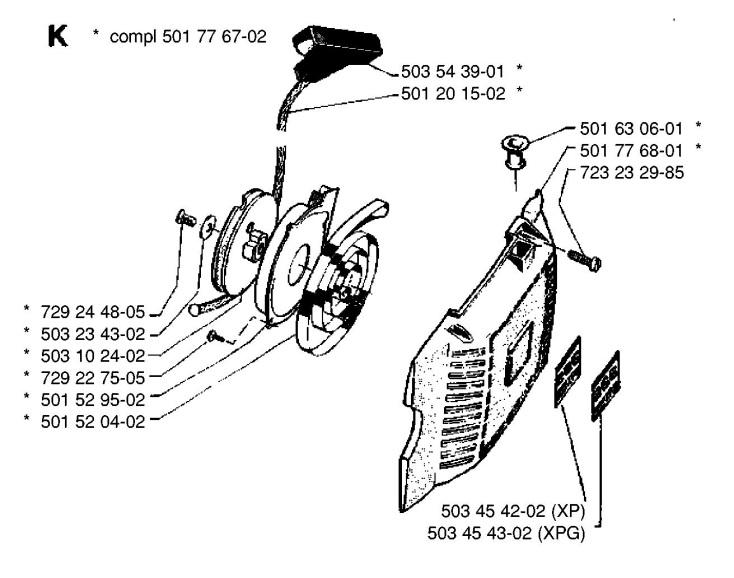 Husqvarna 266 Chainsaw STARTER Spare Parts Diagram