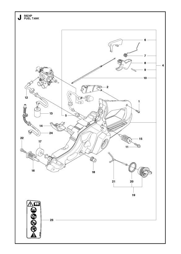 Husqvarna 562 XP/XPG Chainsaw FUEL TANK Spare Parts Diagram