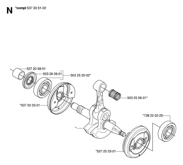 Husqvarna 575 XP (2007-01) Chainsaw CRANKSHAFT Spare Parts