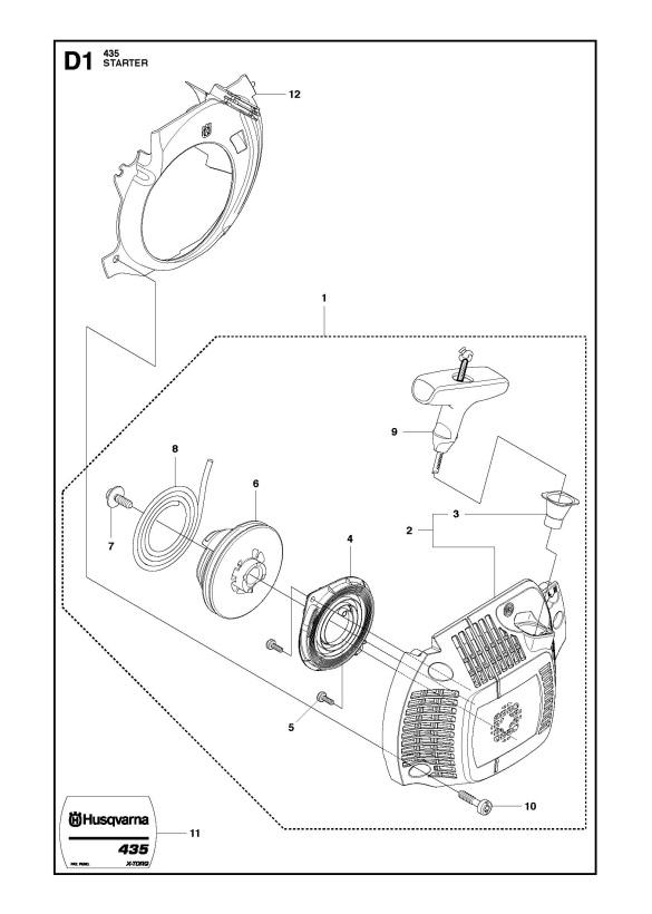 Husqvarna 435 (2011-05) Chainsaw STARTER Spare Parts Diagram