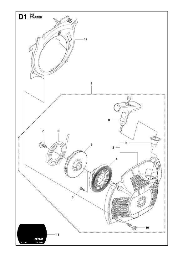 Husqvarna 445 (2011-07) Chainsaw STARTER Spare Parts Diagram