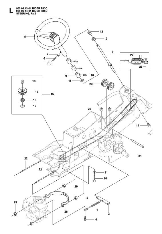 Husqvarna RIDER 15 C (965094401) Ride On Mower STEERING