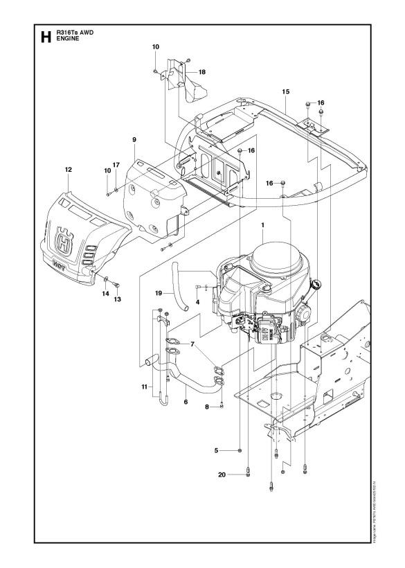 Husqvarna R316 Ts AWD (967291801) Ride On Mower ENGINE