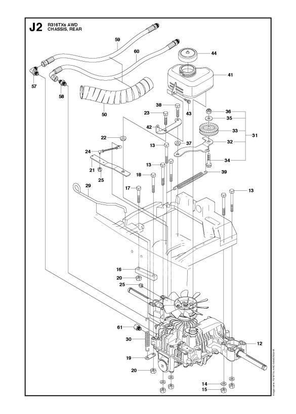 Husqvarna R316 TXs AWD (966757801) Ride On Mower CHASSIS