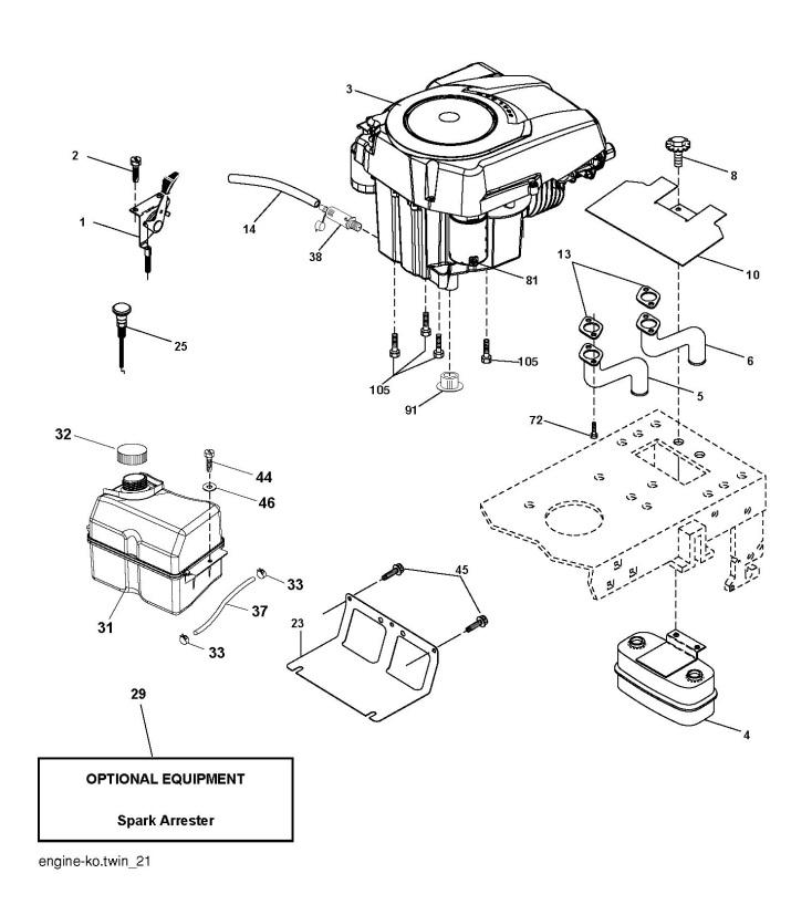 Husqvarna CTH200 TWIN (96061022601) Ride On Mower ENGINE