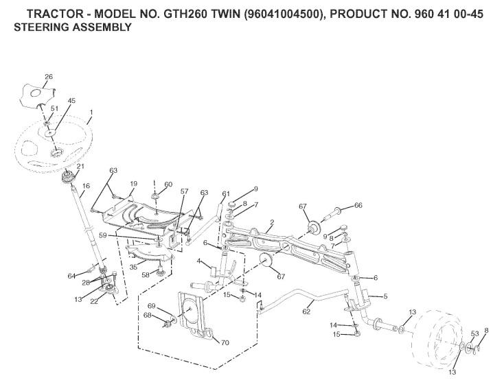 Husqvarna GTH260 TWIN (96041004500) Ride On Mower STEERING