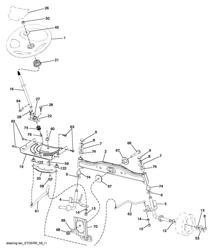 Husqvarna TC 142 (96051012500) Ride On Mower STEERING