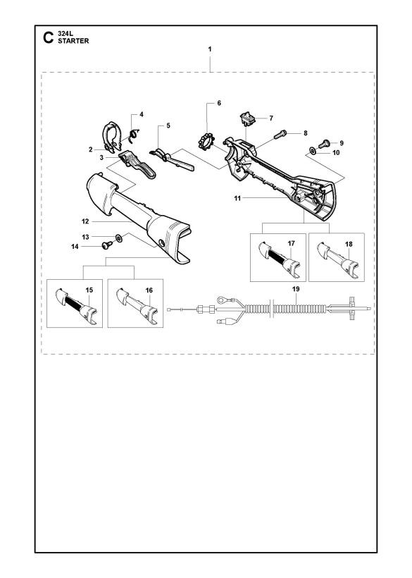 Husqvarna 324 L Trimmer HANDLE & CONTROLS Spare Parts Diagram