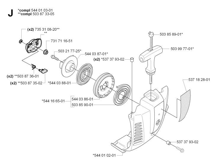 Jonsered GT2125 (2008-09) Trimmer STARTER Spare Parts Diagram