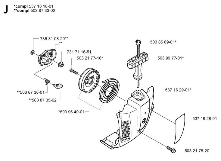 Jonsered GT2125 (2005-01) Trimmer STARTER Spare Parts Diagram
