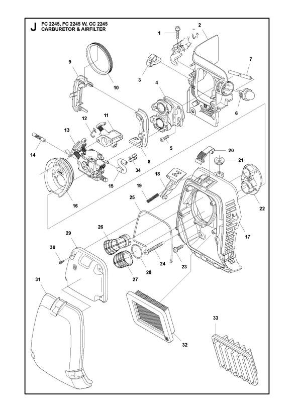 Jonsered CC2245 Trimmer CARBURETOR & AIR FILTER Spare