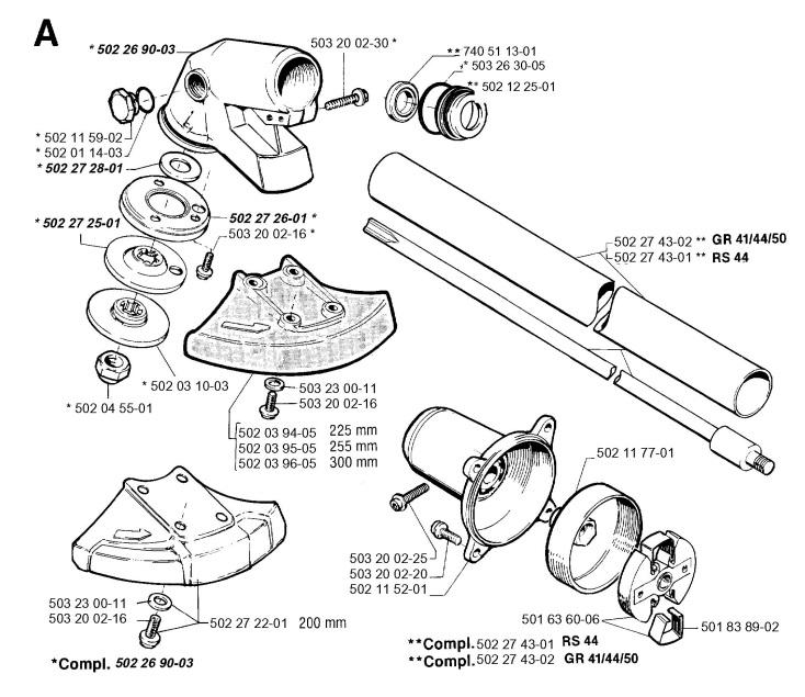 Jonsered GR41 (1994-03) Trimmer BEVEL GEAR & SHAFT Spare