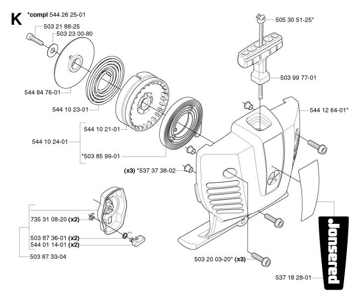 Jonsered BC2236 (2007-01) Trimmer STARTER Spare Parts Diagram