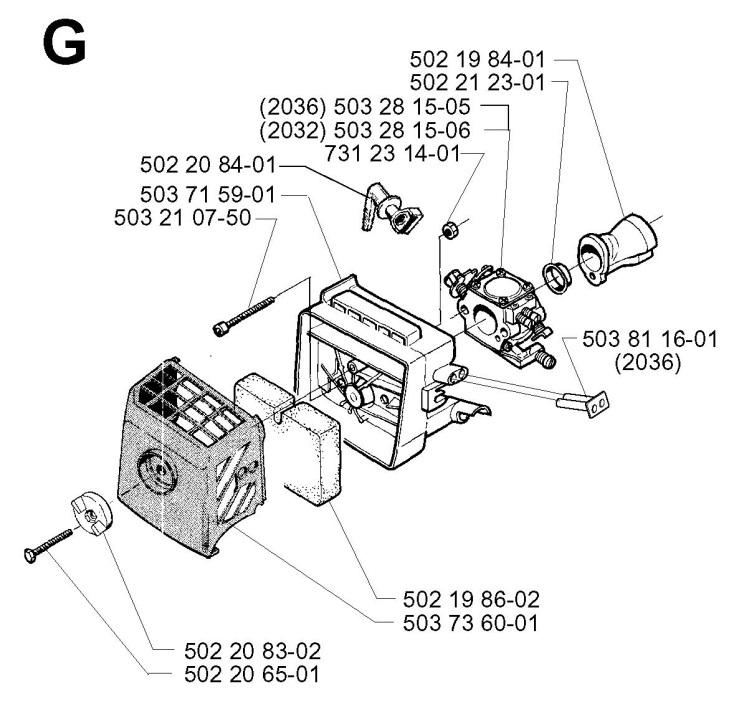Jonsered GR2036 (1998-02) Trimmer CARBURETOR & AIR FILTER