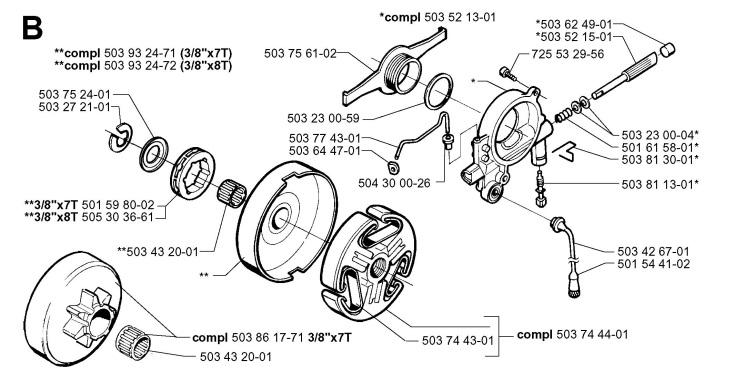 Jonsered 2165 EPA (2000-04) Chainsaw CLUTCH & OIL PUMP
