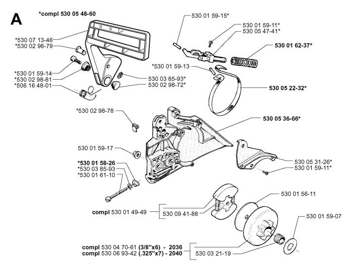 Jonsered 2036 (2002-01) Chainsaw CHAIN BRAKE & CLUTCH