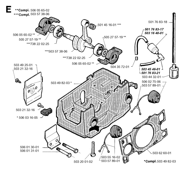 Jonsered 2050 (1996-05) Chainsaw CRANKCASE Spare Parts Diagram